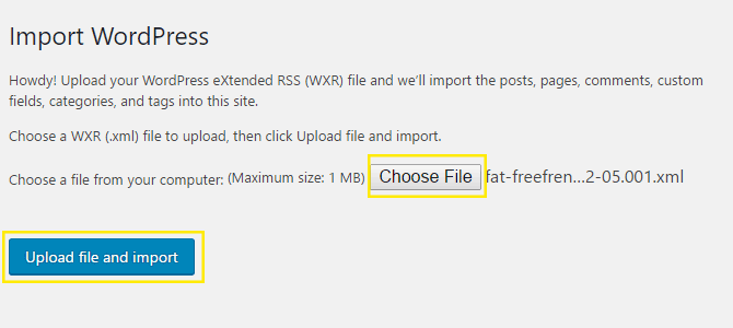 Import WordPress page.
