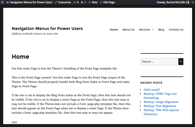 The main navigation on the front end of the site, in the header