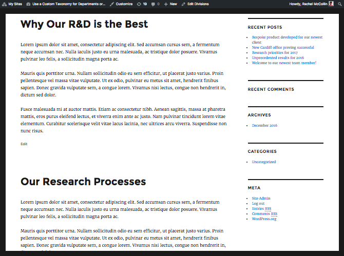 The taxonomy archive displaying pages before posts