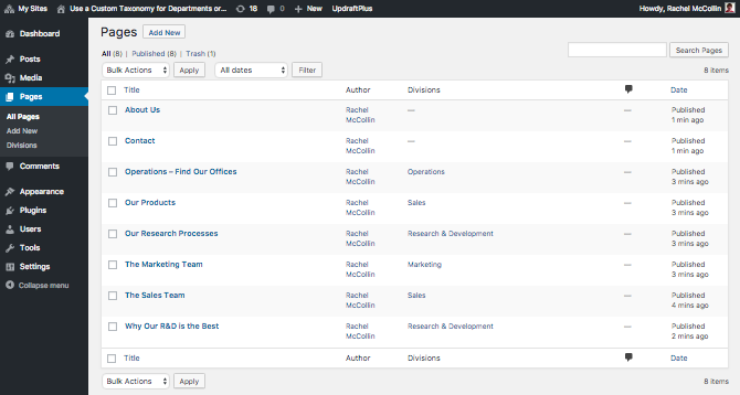 The page listing page in the admin - with divisions applied