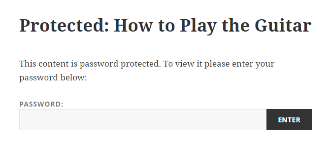 screenshot of a password protected page in WordPress