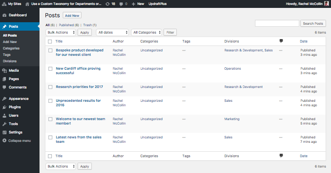 The post listing page in the admin - with divisions applied