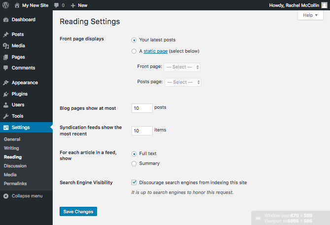 The WordPress reading settings screen