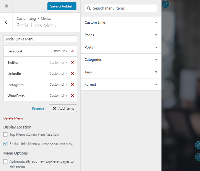 screenshot of social links customization