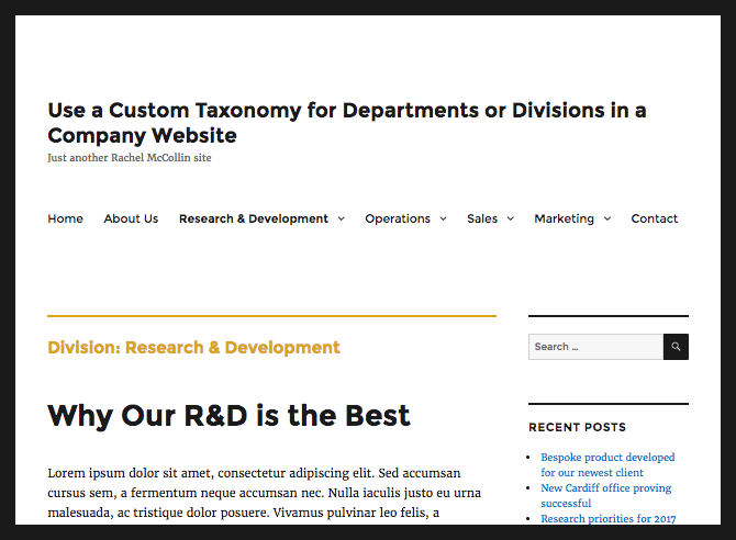 taxonomy archive with yellow styling
