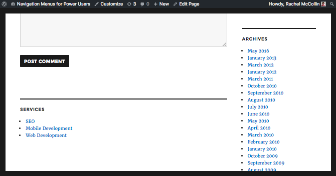 the widget menu in the front-end