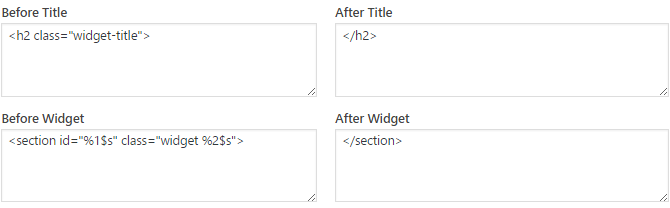 Add the correct code before and after each widget and widget title