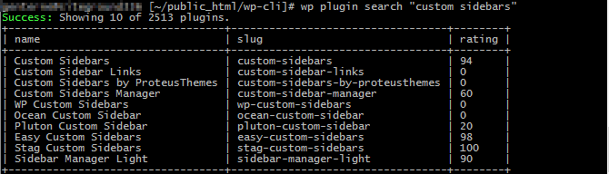 results of plugin search completed with wp-cli
