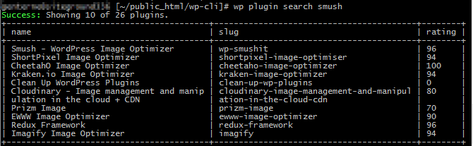 results of a plugin search completed with wp-cli