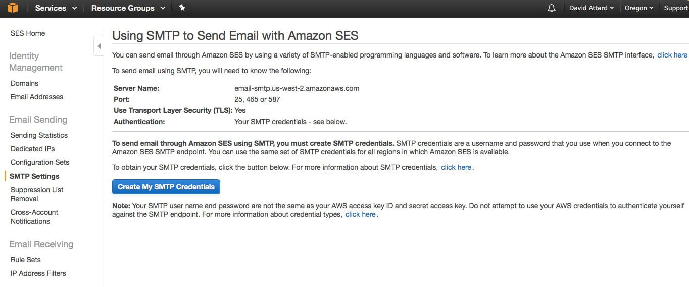 AWS SES SMTP credentials.