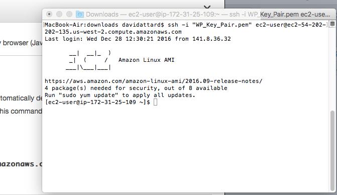 A SSH into EC2 instance.