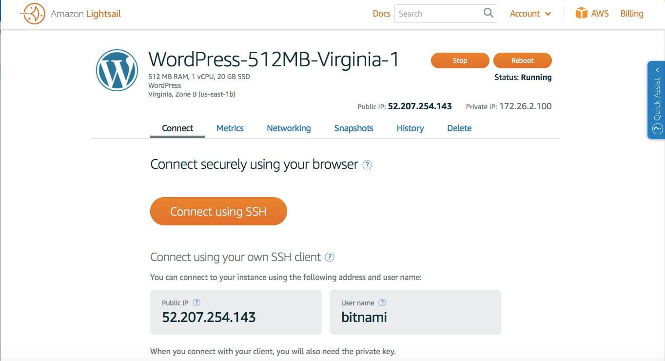 AWS WordPress LightSail Instance.