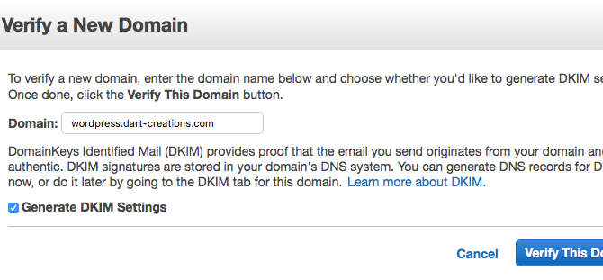 AWS Verify SES domain