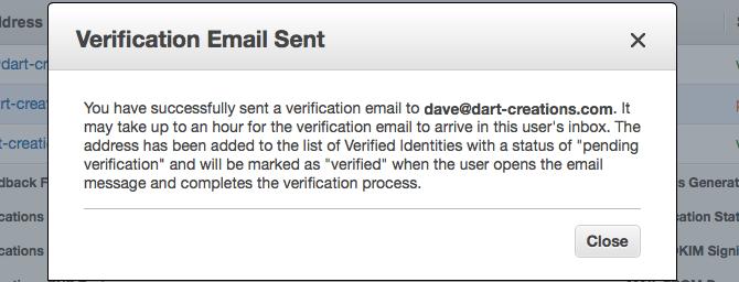 Verify AWS SES identity