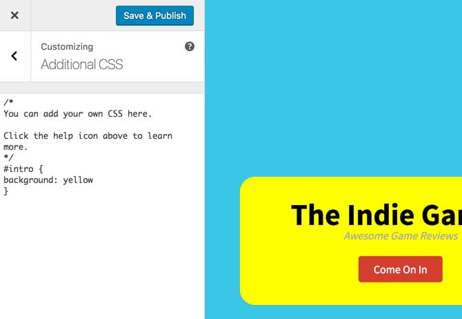 Additional CSS In The Theme Customizer
