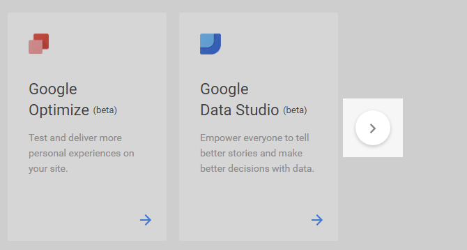 A screenshot of the small round Google analytics icon buttons
