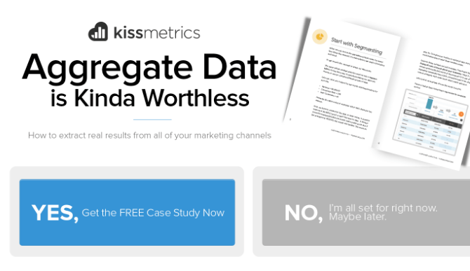 Screenshot of Kissmetrics CTA