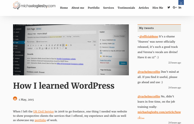 Michael Oglesby website - post on how he learned WordPress