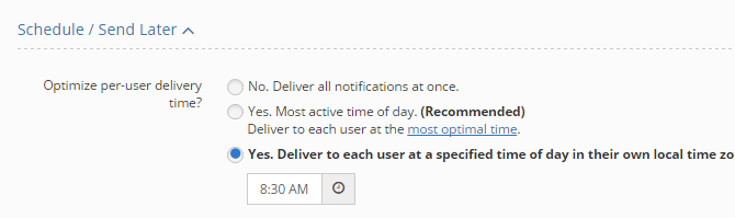List of send-later options available in OneSignal.