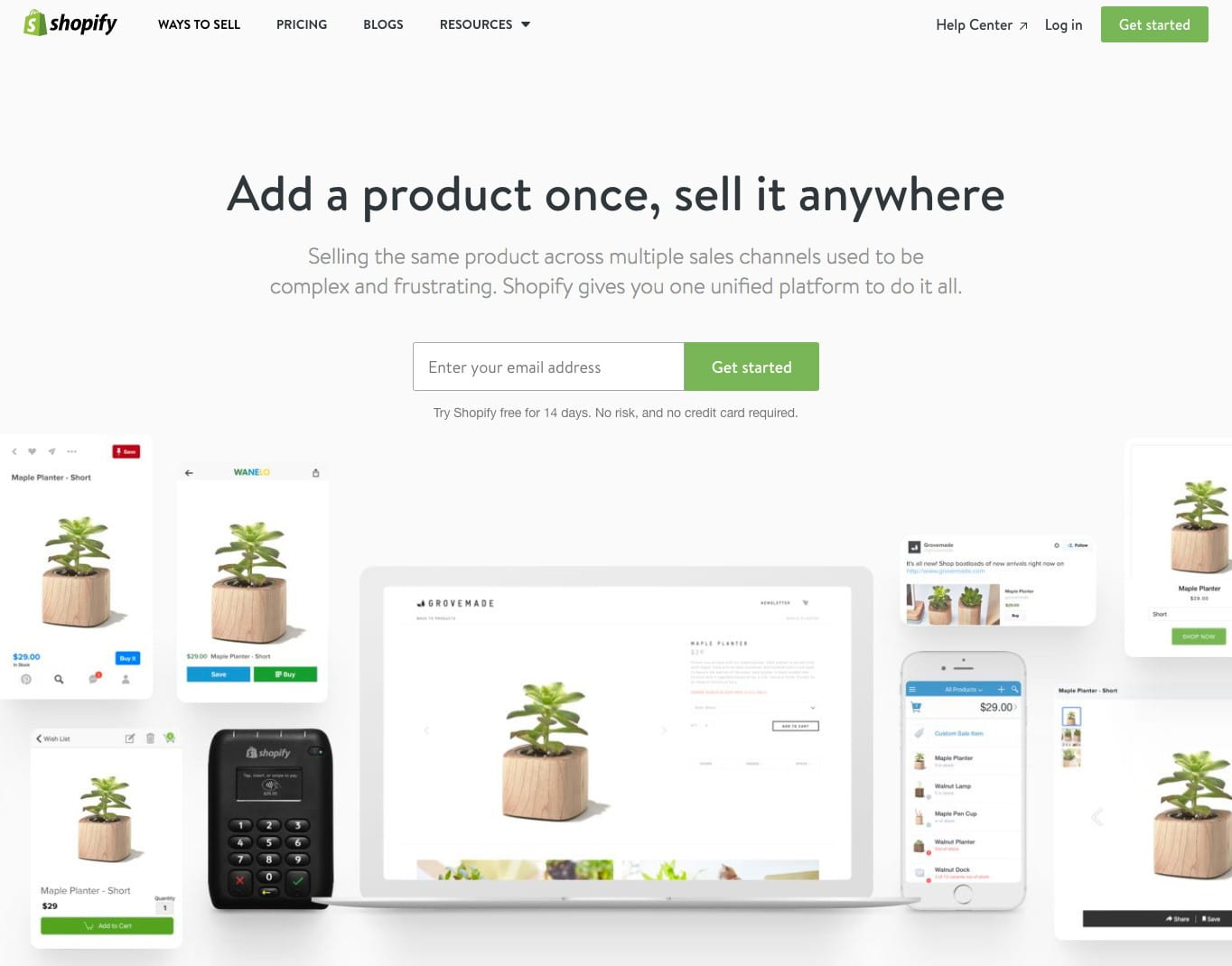 Super simple: Shopify's landing page.