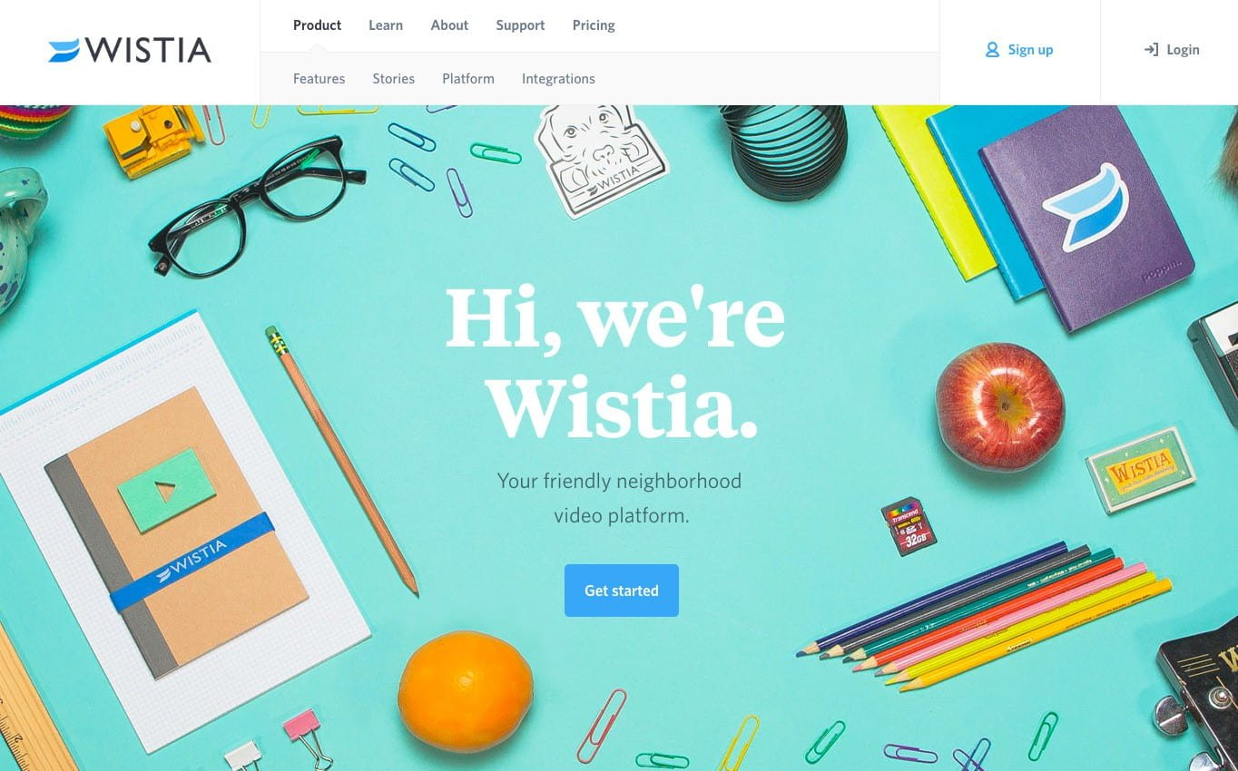 "Video hosting service Wistia has a gorgeous, minimalist home page that focuses users on clicking the ""Get started"" call-to-action button."