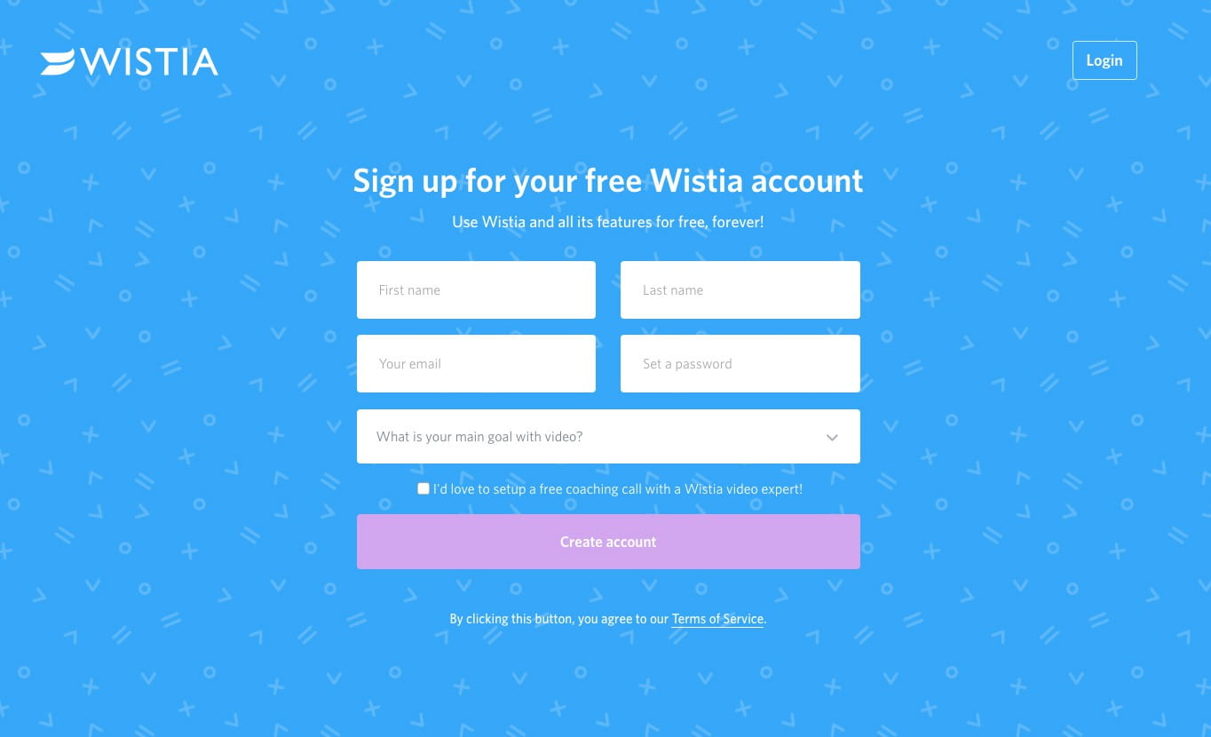 The Wistia signup page assumes users are ready to do one thing, and one thing only: sign up for an account.