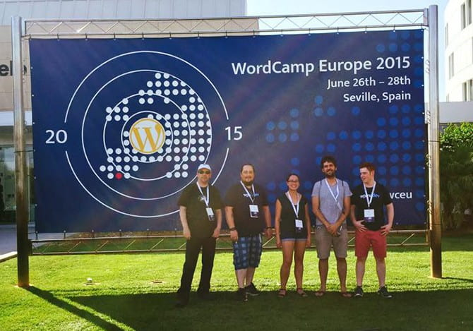 Some of the WPMU DEV team at WordCamp Europe in Seville in 2015.