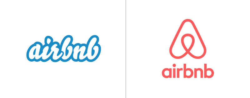 "Airbnb's old logo on the left and the redesign ""Bélo"" on the right."
