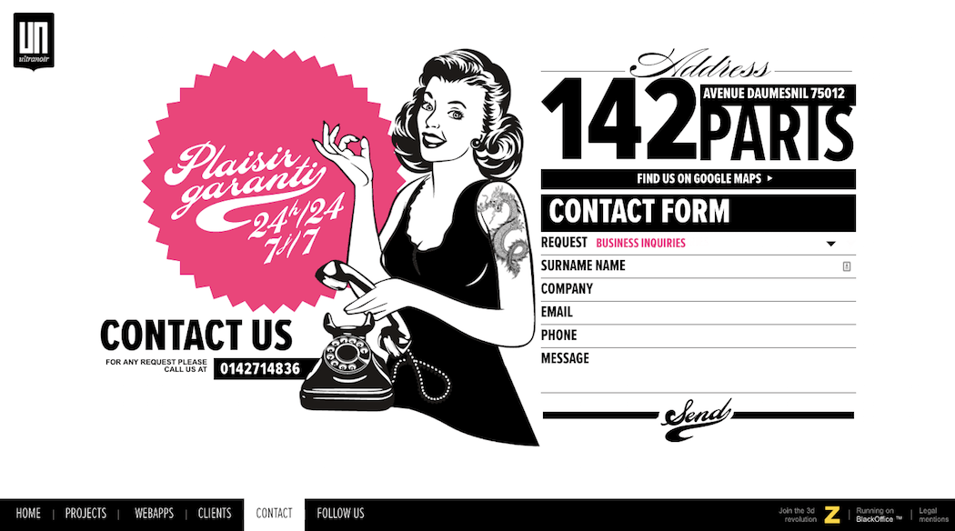 The contact page for digital agency UltraNoir.