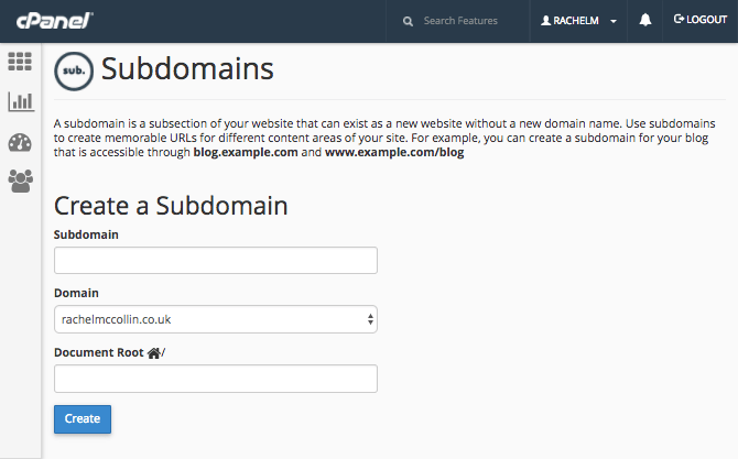 the subdomains screen in cPanel