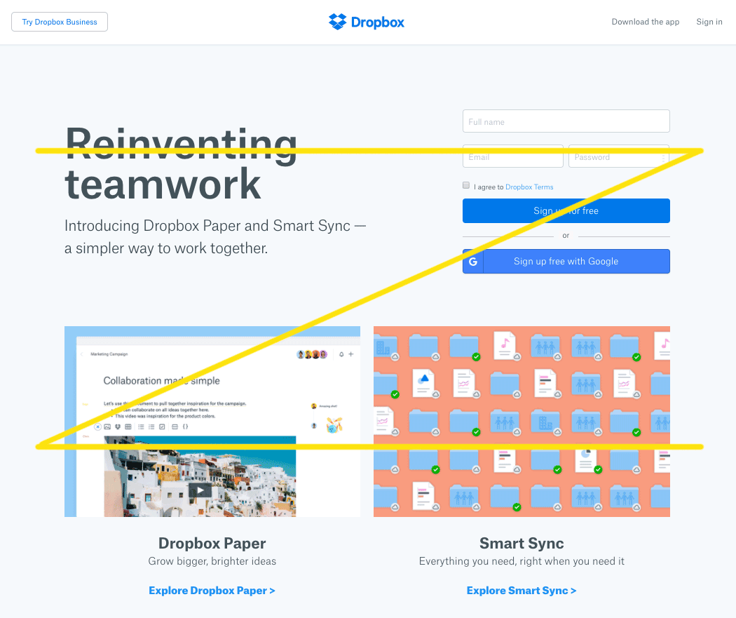The Dropbox website follows the principles of the Gutenberg Diagram.