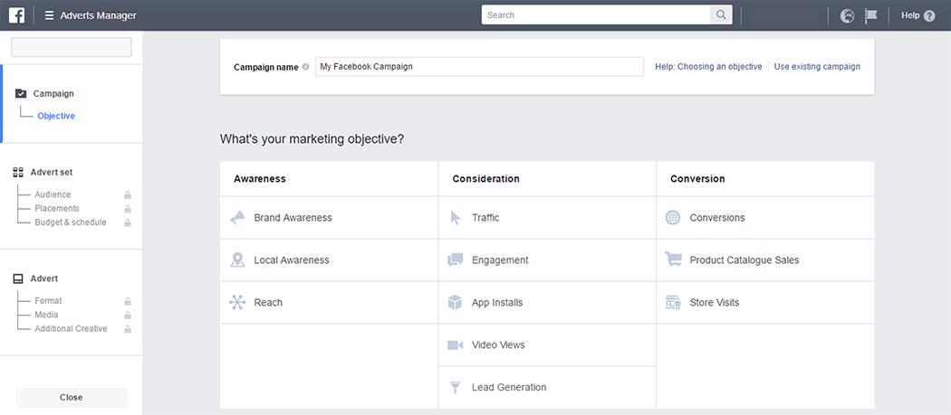 Facebook ads marketing objectives