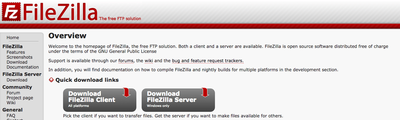 FileZilla download website