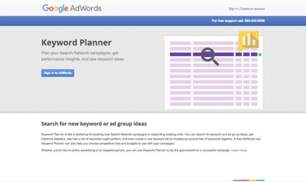 Google Keyword Planner site