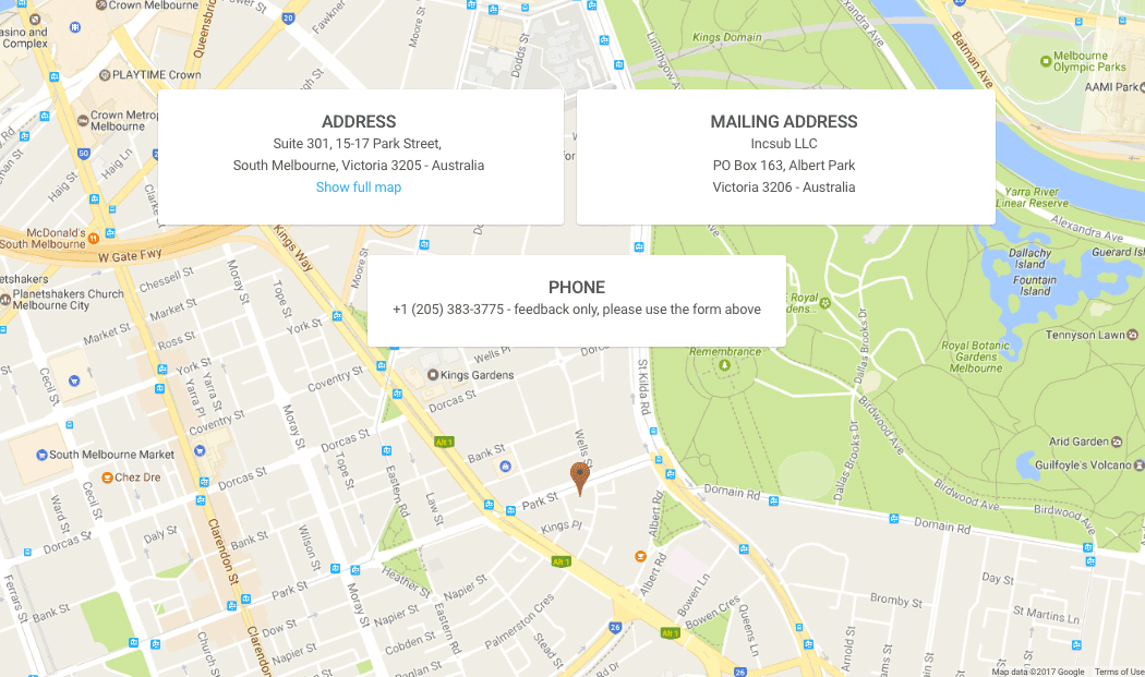 WPMU DEV's Contact page includes a Google Map.