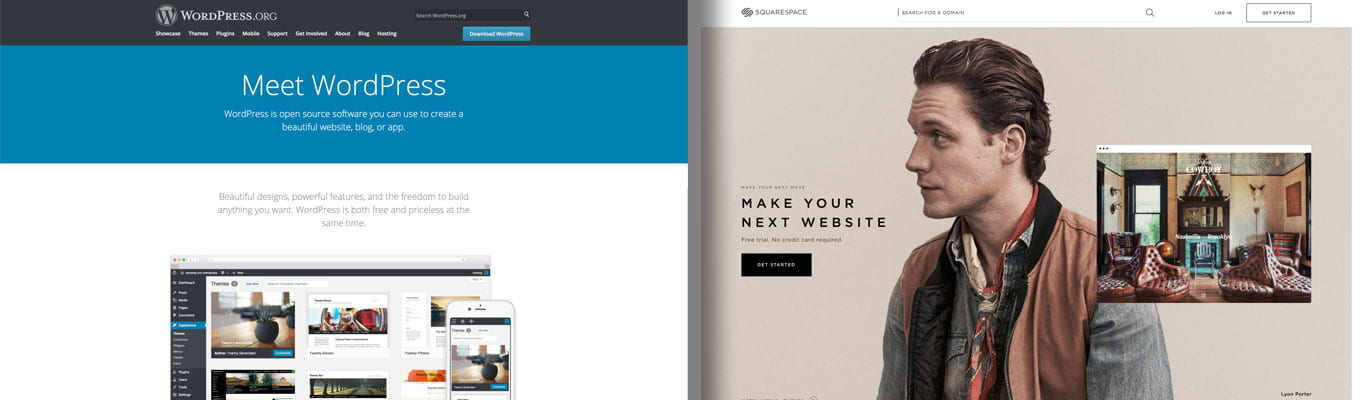 WordPress site on the left and Squarespace's site on the right