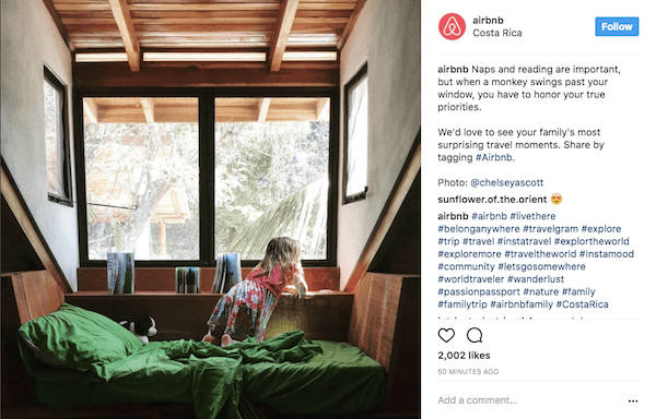 Airbnb uses the platform to encourage user-generated content.