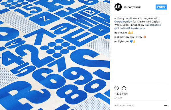 Anthony Burrill shares a behind the scenes shot.