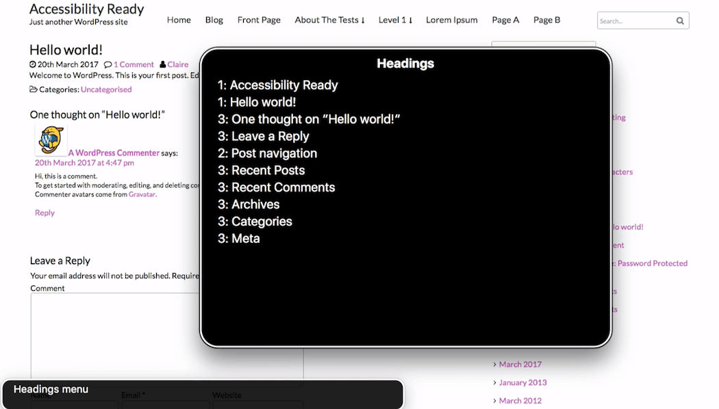 VoiceOver Headings menu in Ffashion theme showing a duplicate Heading 1 and missing Heading 2.