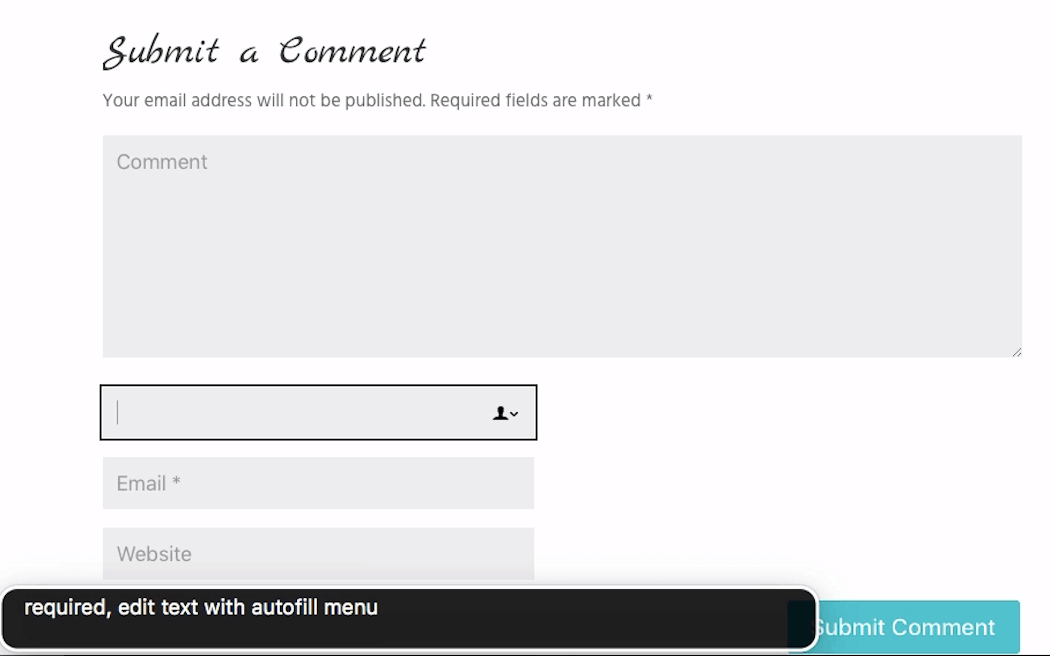 The Inspirez theme comment form name field. VoiceOver reads 'required, edit text with autofill menu'.