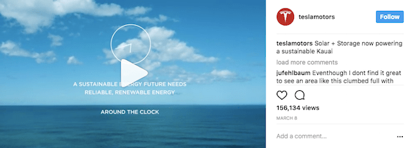 Tesla takes advantages of Instagram's video capabilities.