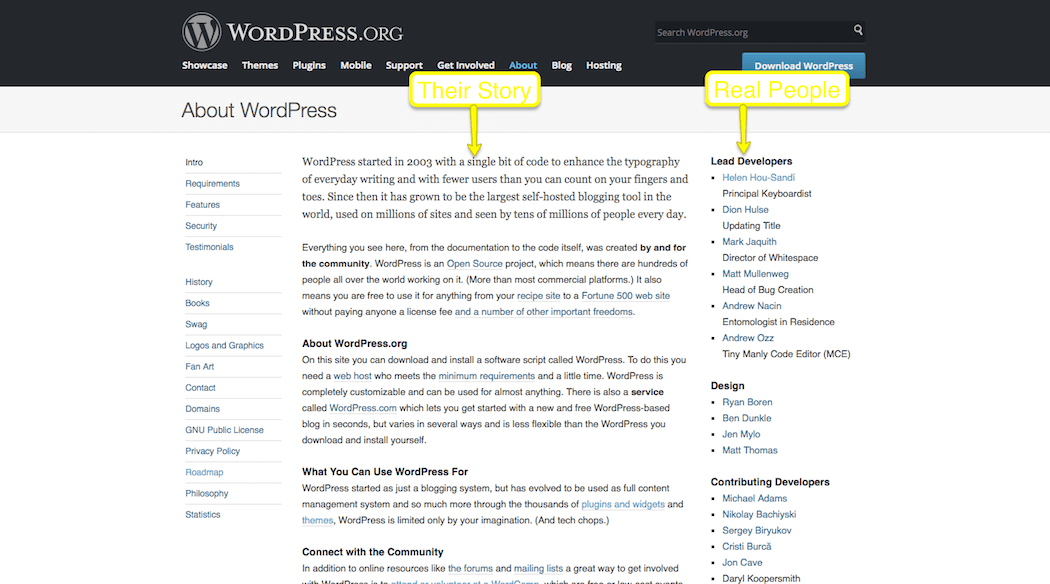 WordPress About Page Trust Mark