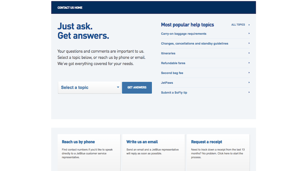 JetBlue Contact Page Trust Mark