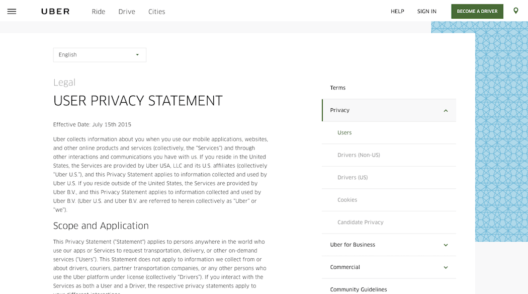 Uber Privacy Trust Mark