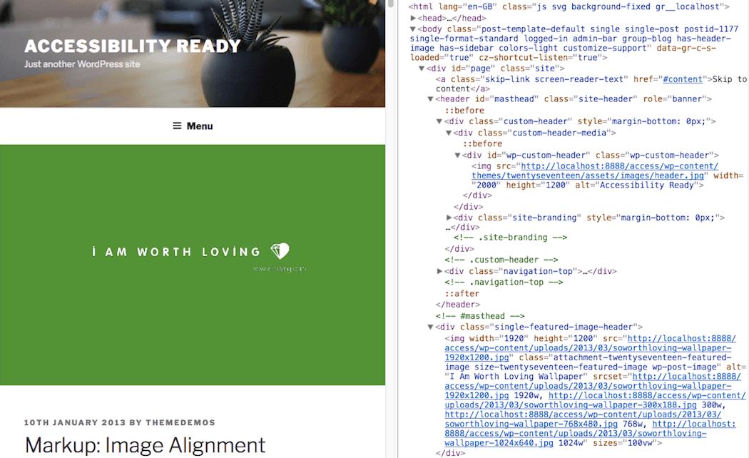 Twenty Seventeen theme's implementation of alt text.
