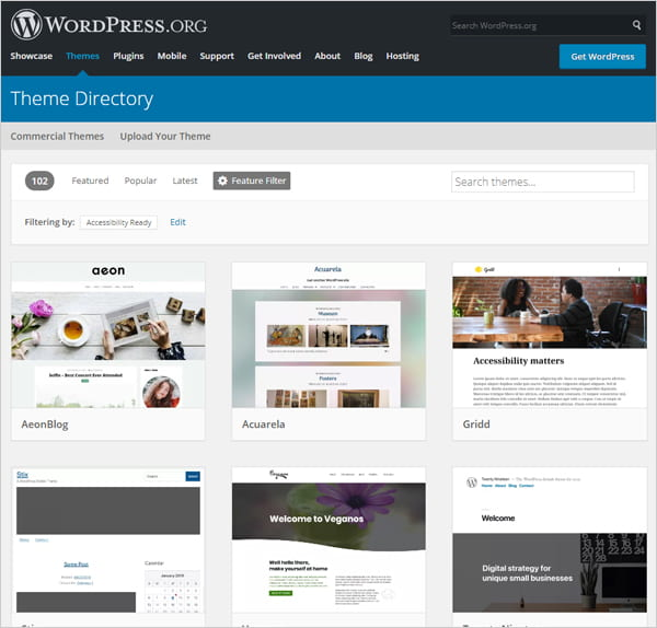 Screenshot of WordPress Theme Directory results for accessibility-ready WordPress themes.