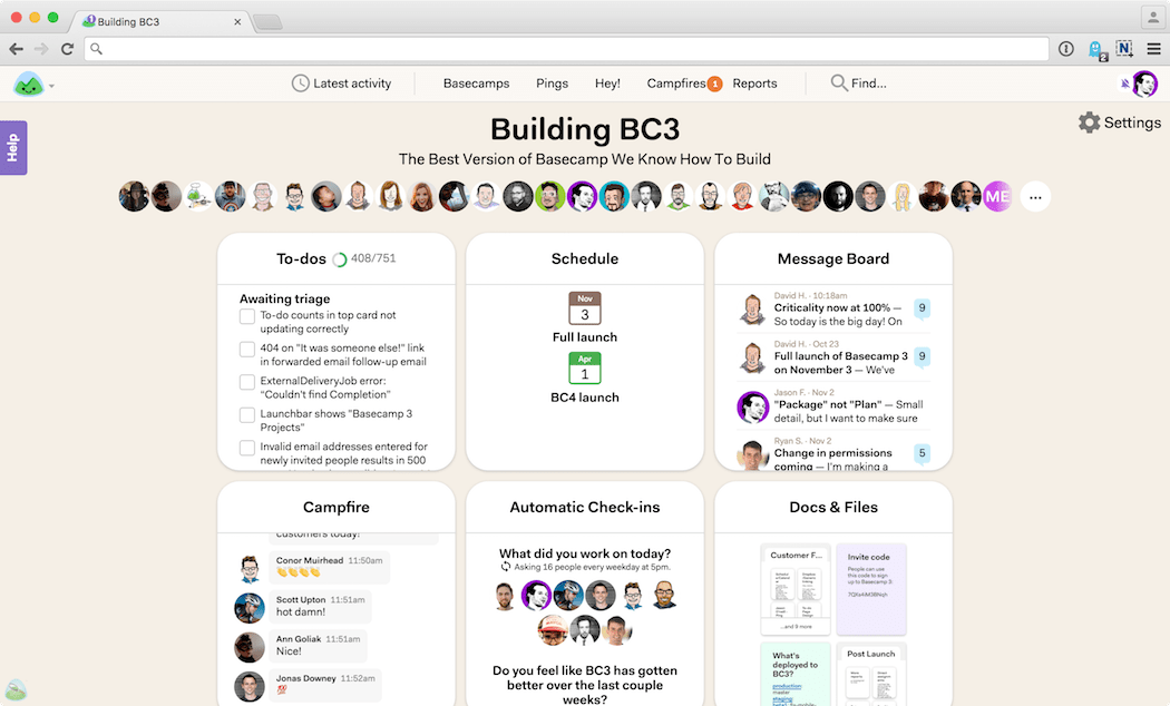 The latest version of Basecamp - v3