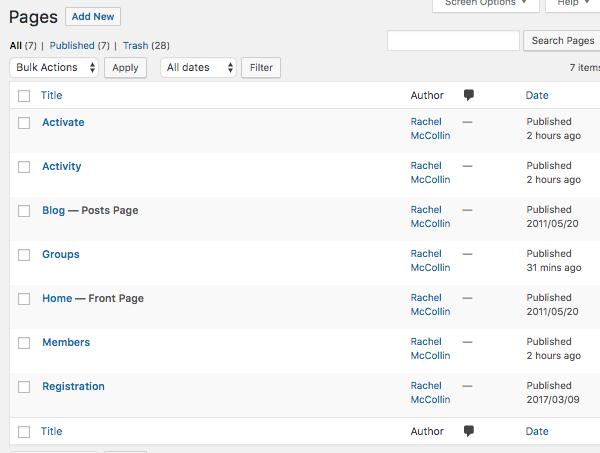 WordPress pages admin screen