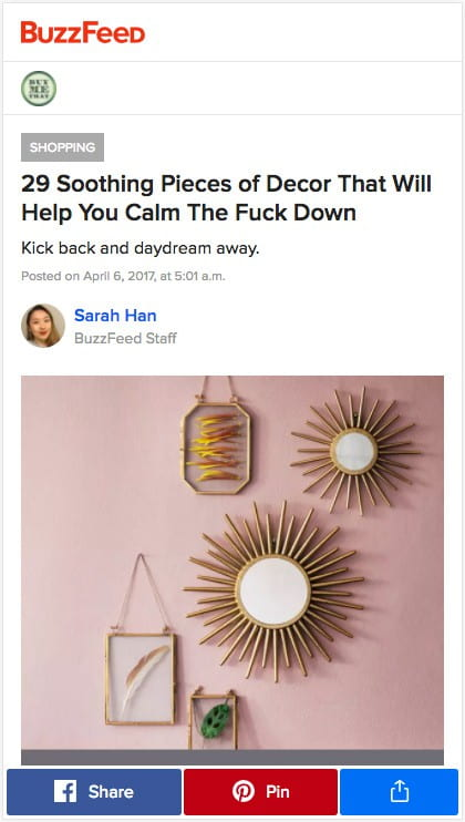 Buzzfeed stickies its social media CTAs to the bottom of the page within easy thumb reach.