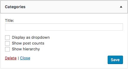 The Categories Widget. Yes, another default WordPress widget!